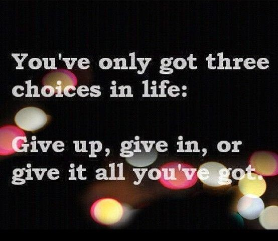 giveup or give in